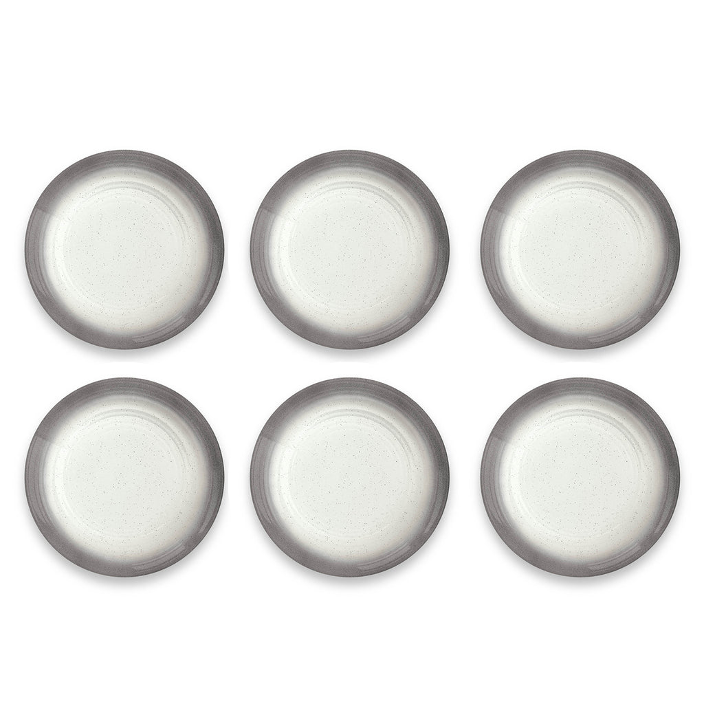 "Ombre Rim Speckle Salad Plate, Grey, 8.3"", Melamine, Set of 6"