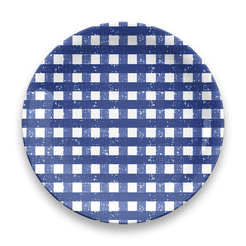 Homemade Navy Gingham Dinner Plate Set Of 4