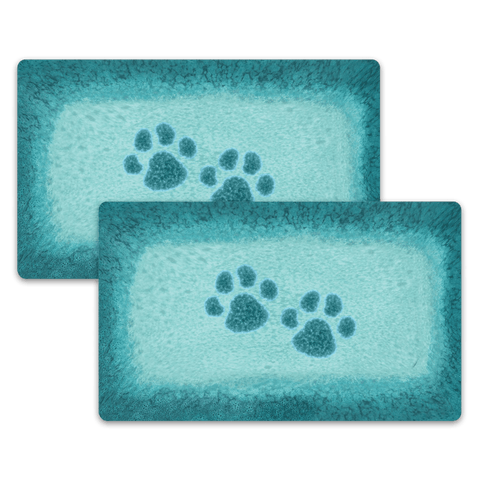 "Paw Print Reactive Pet Placemat, 11.5"" x 19"", PP+EVA, Set of 2"