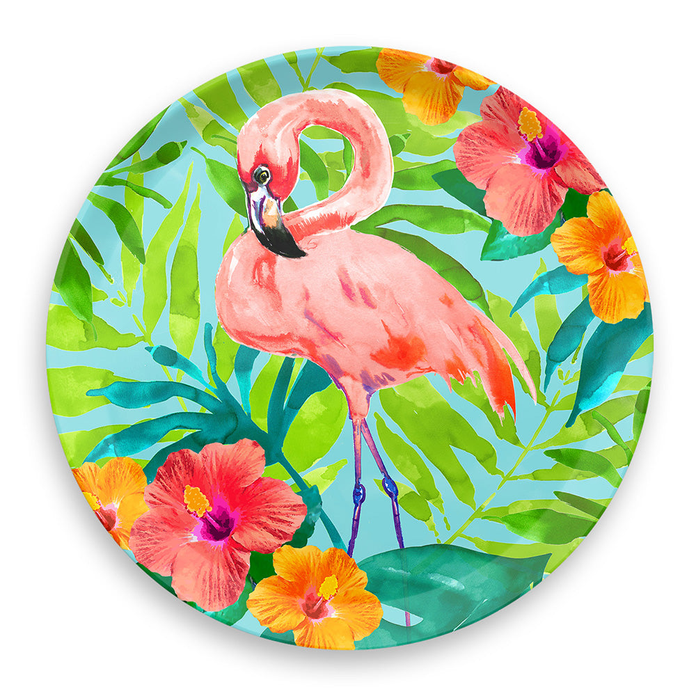 TROPICAL VIBES FLAMINGO ROUND PLATTER - Abode Homewares
