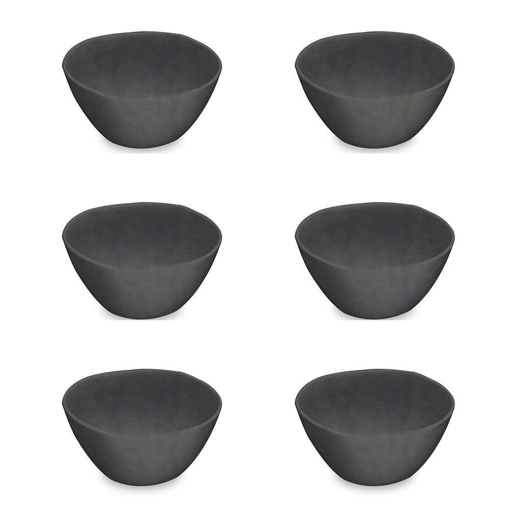 "Black Bamboo Bowl, 6"" x 3"",  13.5 oz., Planta (Majority Plant Based Melamine Material), Set of 6"