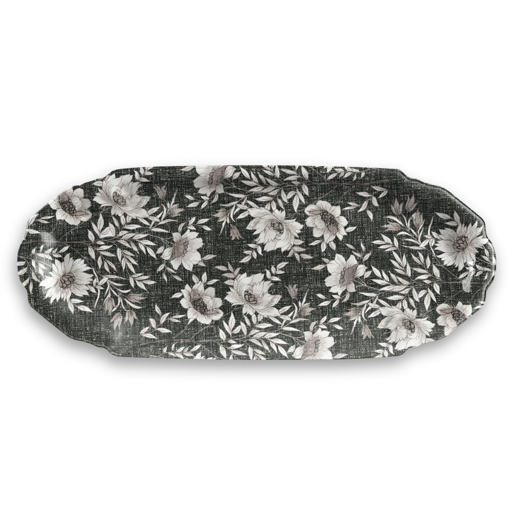 "Farmhouse Botanical Appetizer Tray, 18.5"" x 6.3"", Melamine"