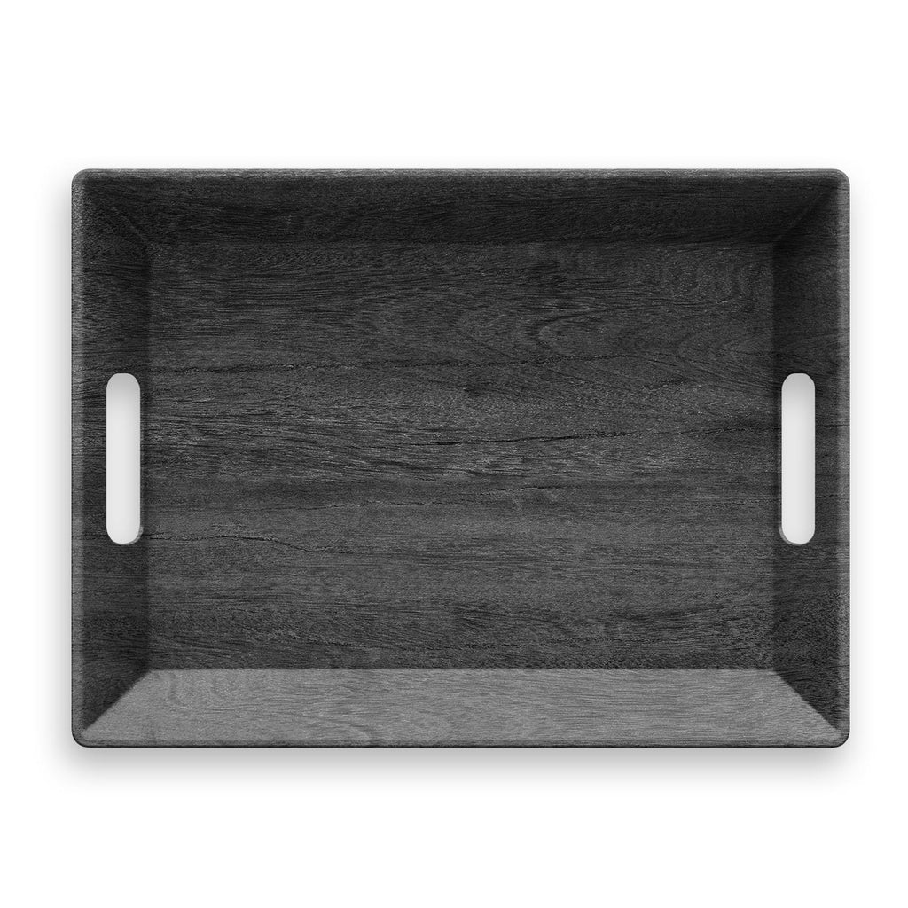 "Faux Real Blackened Wood Handled Tray, 19.5"" x 14.5"", Melamine"