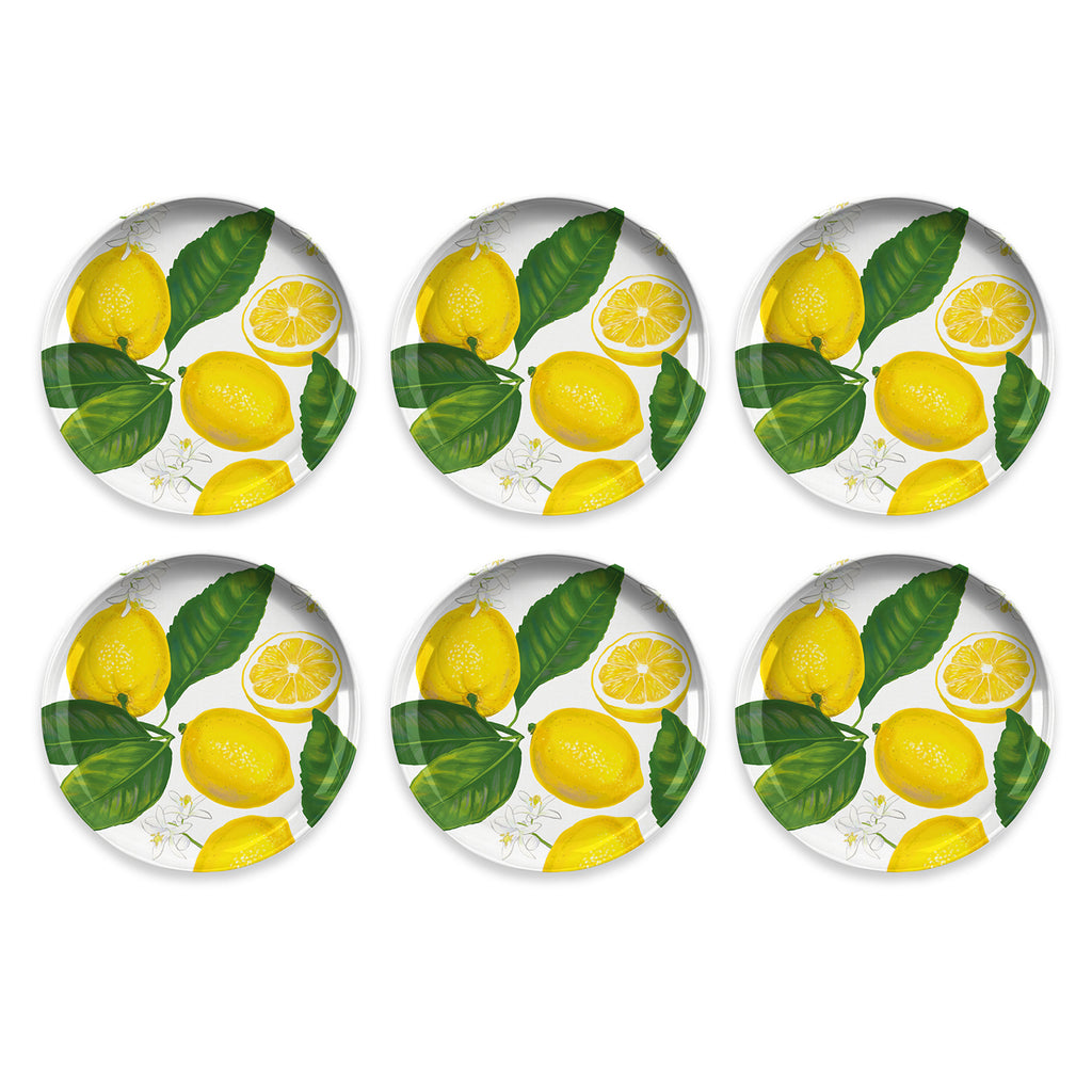 "Lemon Fresh Salad Pate, 8.5"", Melamine, Set of 6"