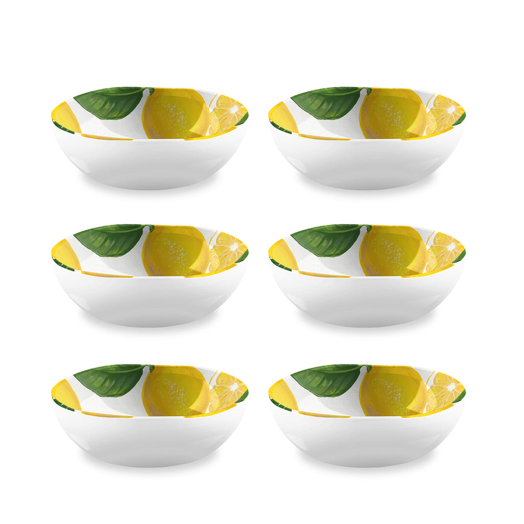 "Lemon Fresh Cereal Bowl, 7"" x 2.4"",  34 oz., Melamine, Set of 6"