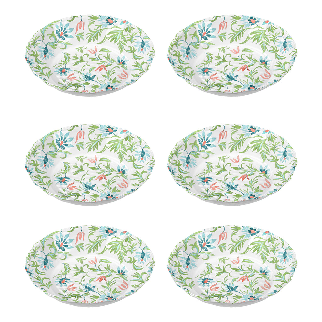 "Chinoiserie Botanical Bowl, 7.8"" x 2"" ,  22 oz., Melamine, Set of 6"