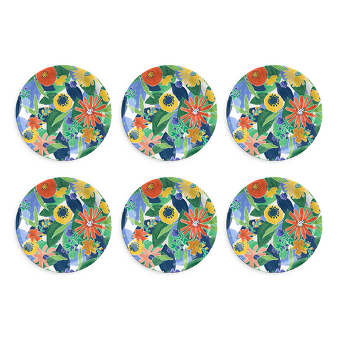 "Midsummer Floral Dinner Plate, 10.5"", Melamine, Set of 6"