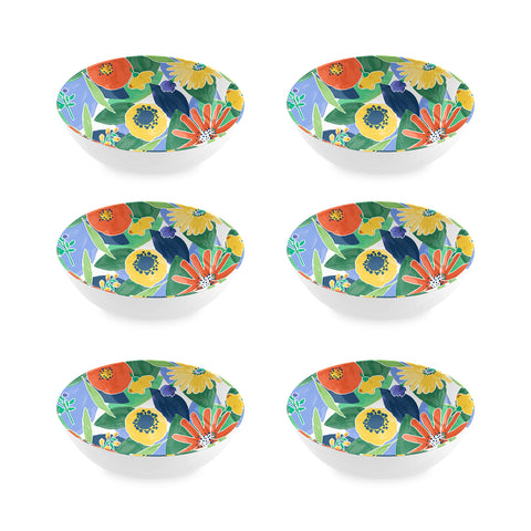 "Midsummer Floral Cereal Bowl, 8"", Melamine, Set of 6"