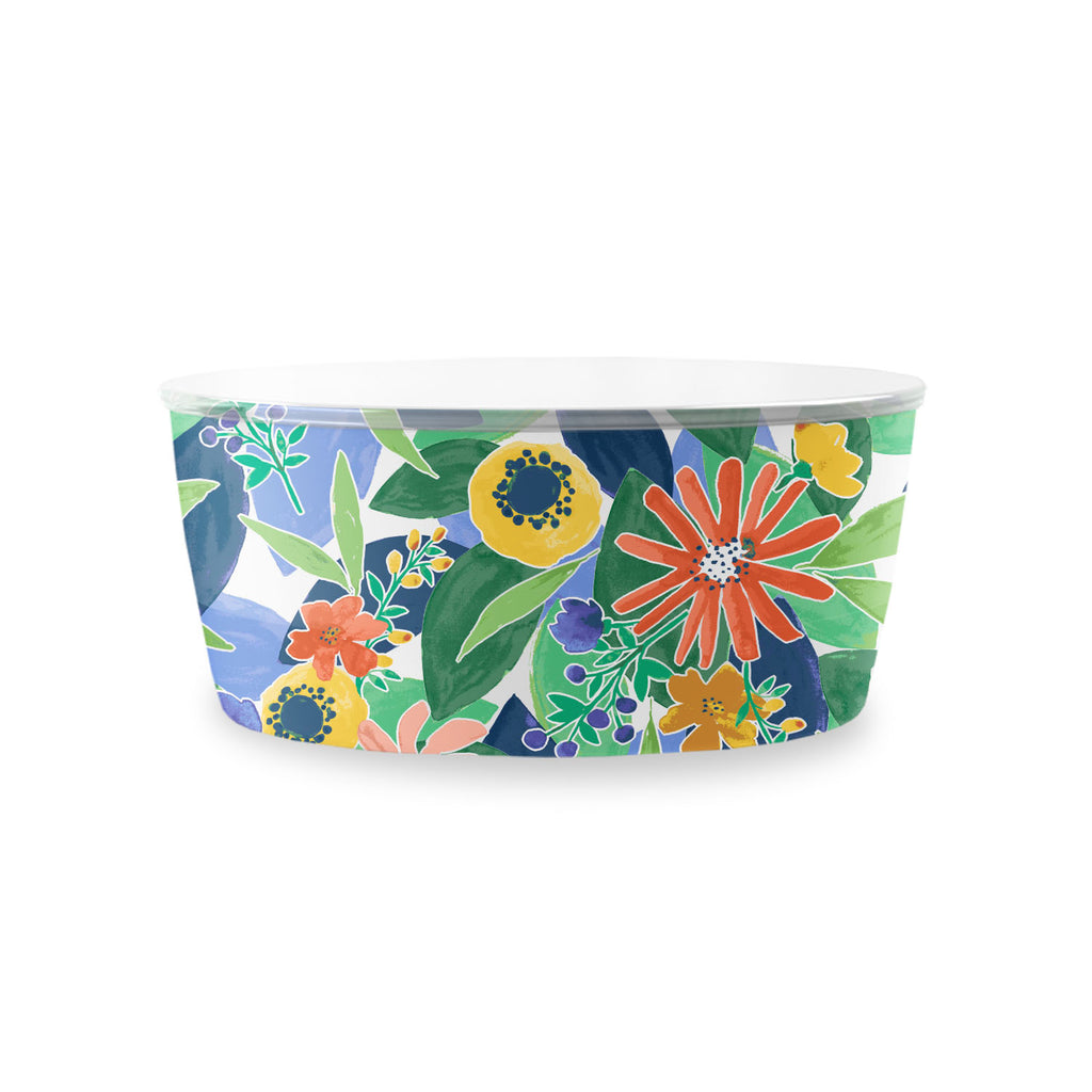 "Midsummer Floral Lidded Picnic Serve Bowl, 10"",  158 oz. , Melamine"