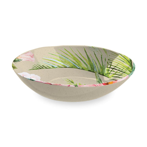 "Palermo Tropical Bamboo Serve Bowl, 12"", Proprietary Merge Material Mix (Bamboo powder & Melamine)"
