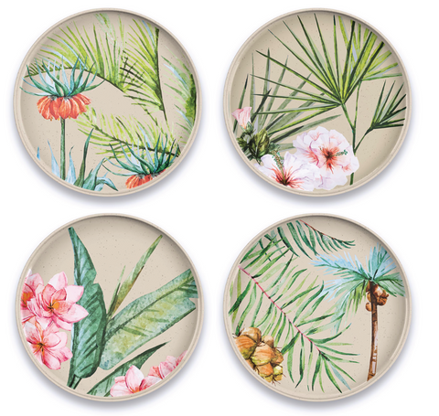 "Palermo Tropical Bamboo Assorted Salad Plates, 8.5"", Proprietary Merge Material Mix (Bamboo powder & Melamine), Set of 4"