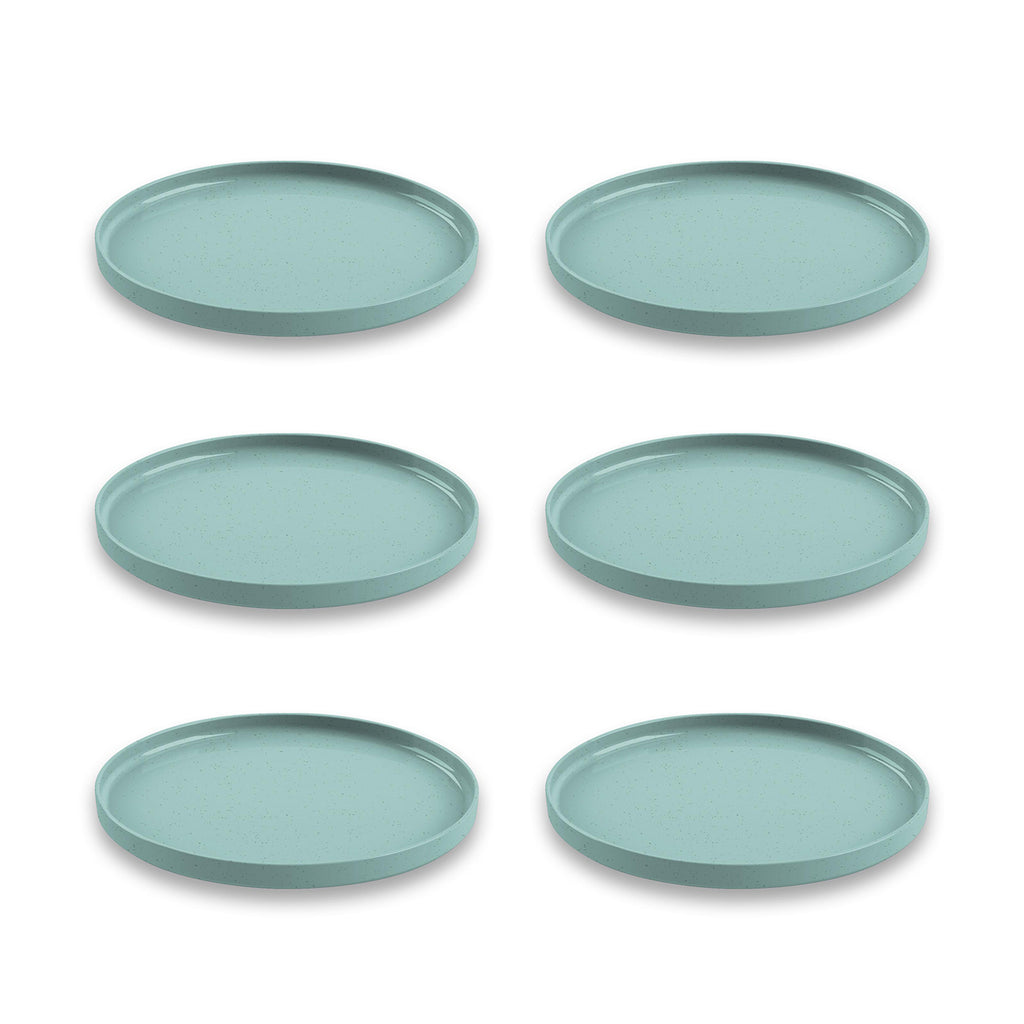 "Palermo Bamboo Salad Plate, Teal, 8.5"", Proprietary Merge Material Mix (Bamboo powder & Melamine), Set of 6"