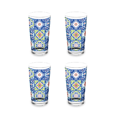Talavera Tile Jumbo Glass, 20 oz. , Premium Plastic, Set of 4