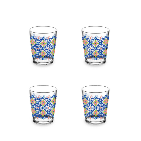 Talavera Tile Double Old Fashion Glass , 15 oz., Premium Plastic, Set of 4
