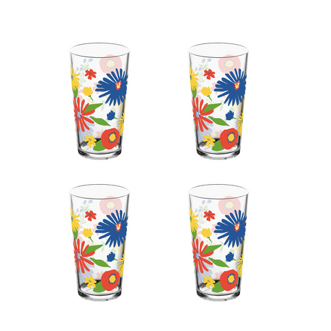 Midsummer Floral Jumbo Glass, 20 Oz., Premium Plastic, Set of 4