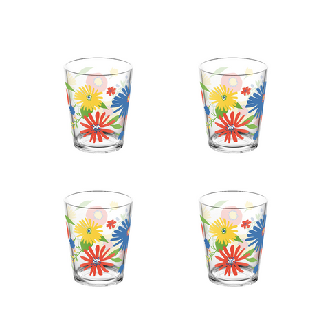 Midsummer Floral Stemless Glass , 16 oz., Premium Plastic, Set of 4