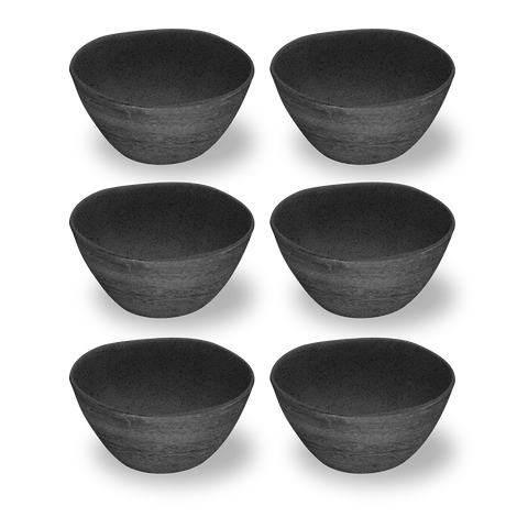 "Faux Real Blackened Wood Cereal Bowl, 6"" / 13.5 oz., Planta (Majority Plant Based Melamine Material), Set of 6"