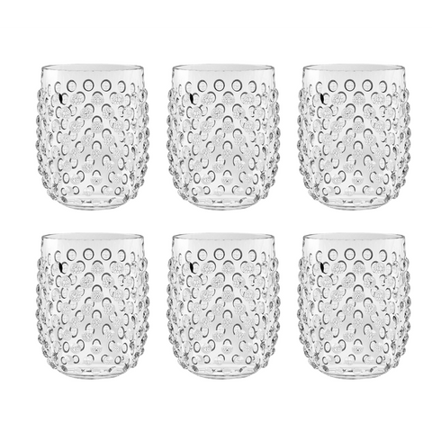 Hobnail Stemless, Clear, 15 oz., Acrylic, Set of 6