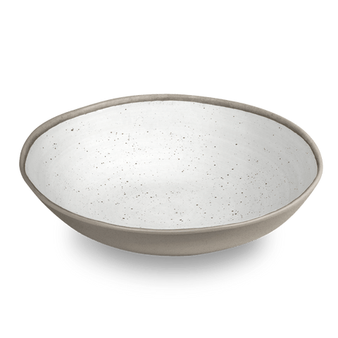 "Retreat Pottery White Bamboo, Serve Bowl 12"" / 104 oz., Merge (Bamboo powder & Melamine), Set of1"