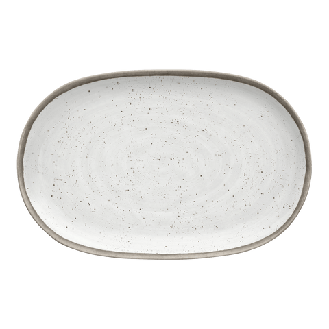 "Retreat Pottery White Bamboo, Platter 10.6"" x 17"", Merge (Bamboo powder & Melamine), Set of1"