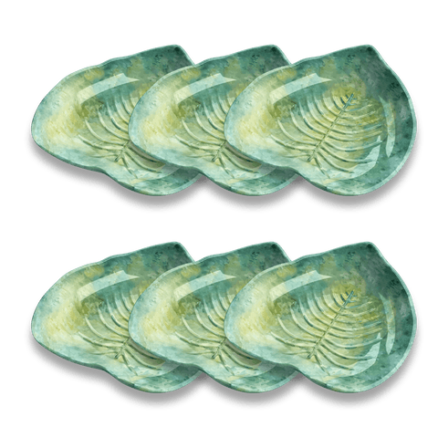 "Palermo Tropical Leaf Tidbit Bowl, 5.5"" x 5.75"" / 6.25 oz., Merge (Bamboo powder & Melamine), Set of 6"