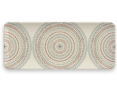 Desert Mandala Tray, 17.8x7.5, Merge (Bamboo powder & Melamine), Set of1