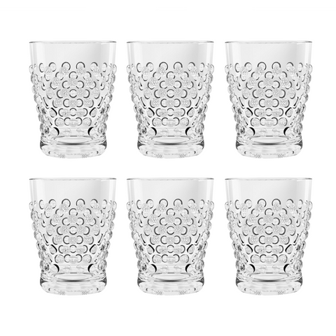 Hobnail DOF, Clear, 14 oz., Acrylic, Set of 6