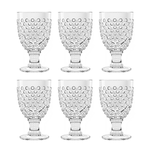 Hobnail Goblet, Clear, 17 oz., Acrylic, Set of 6