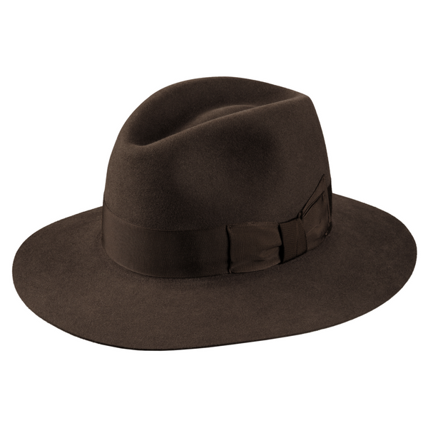 Angle view of Regency Fawn colour Akubra Adventurer hat.