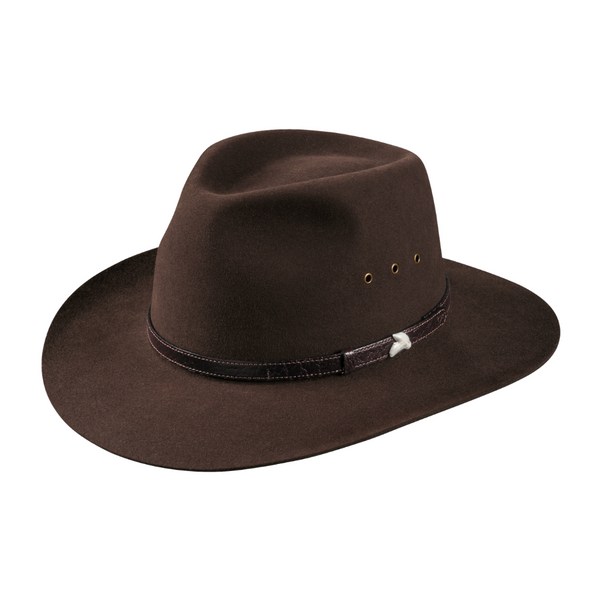 Angle view of Akubra Angler hat in loden colour showing sharks tooth detail on brand.