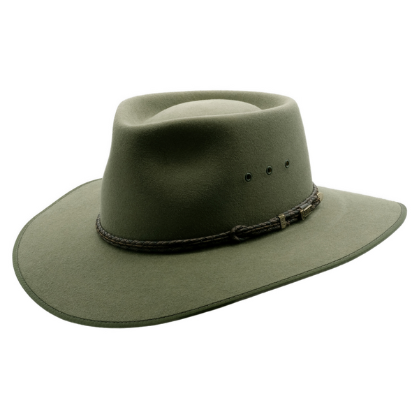 Angle view of Akubra cattleman hat in Bluegrass Green colour