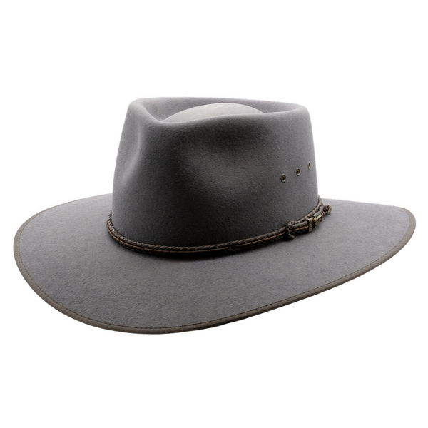 angle view of Akubra hat in Glen Grey colour