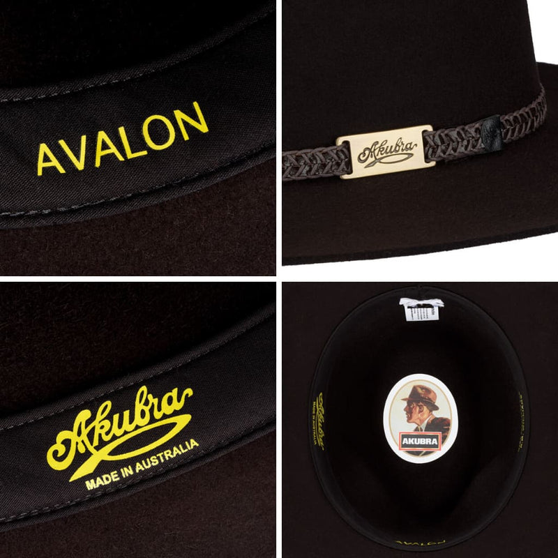 Compilation of interior and detail of Akubra Avalon hat in Bitter Chocolate colour