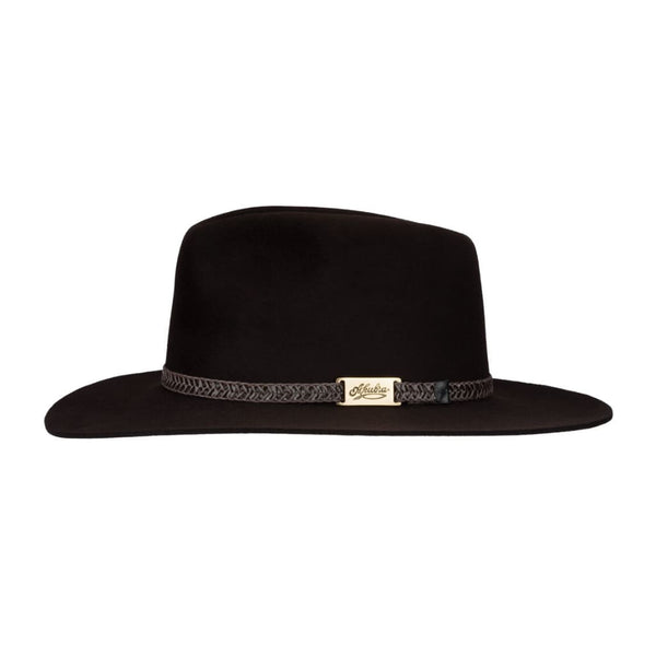 Side view of Akubra Avalon hat in Bitter Chocolate colour