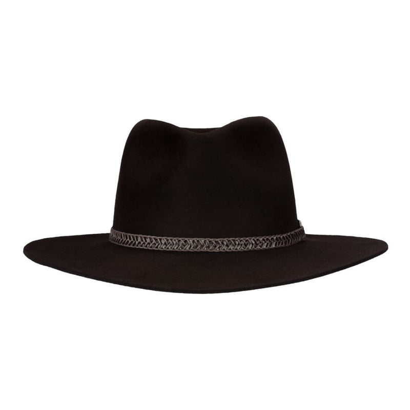 Front-on view of Akubra Avalon hat in Bitter Chocolate colour