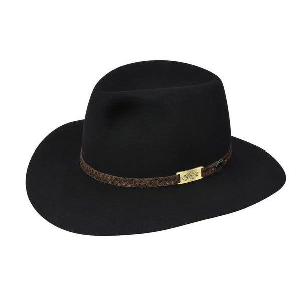 Angle view of Akubra Avalon hat in Black colour