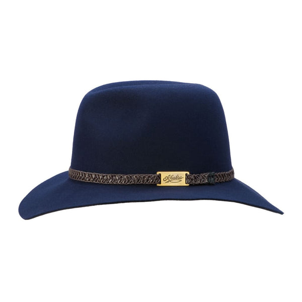 Brisbane Hatters Side view of Akubra Avalon hat - Federation Navy colour
