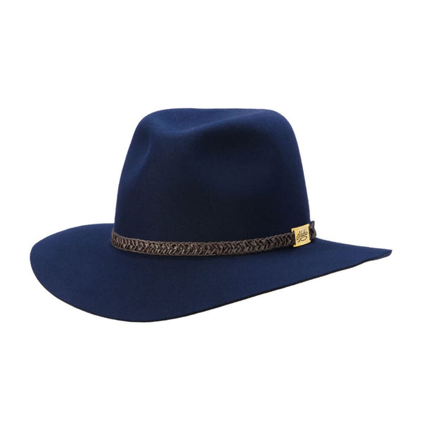 Brisbane Hatters Angle view of Akubra Avalon hat - Federation Navy colour