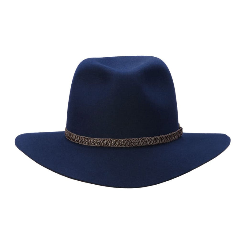 Brisbane Hatters front on view of Akubra Avalon hat - Federation Navy colour