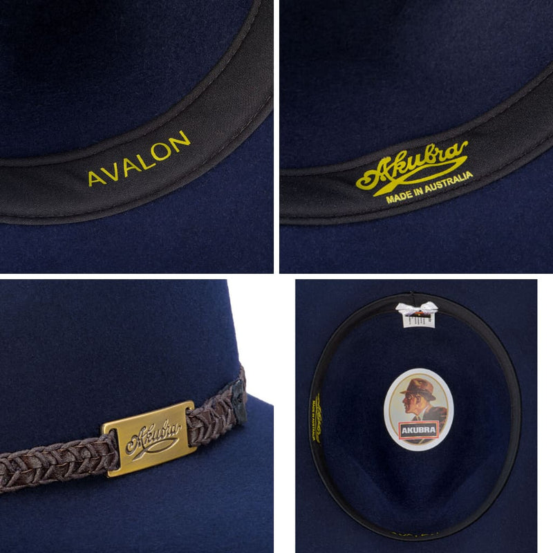 Brisbane Hatters compilation of interior images of Akubra Avalon hat - Federation Navy colour
