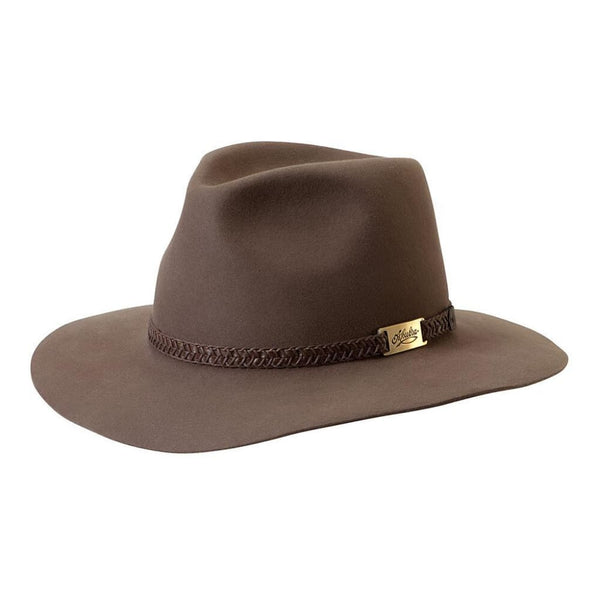 Akubra Avalon hat in Hazelnut shown at an angle to show brim and crown shape and hat band detail.