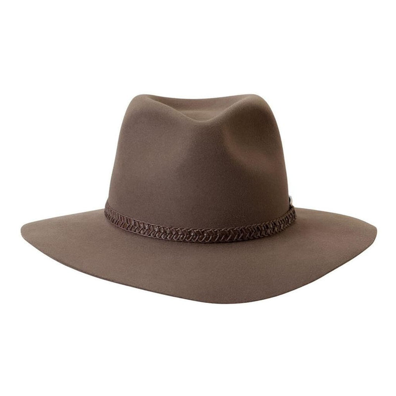 Akubra Avalon hat in Hazelnut shown front on.