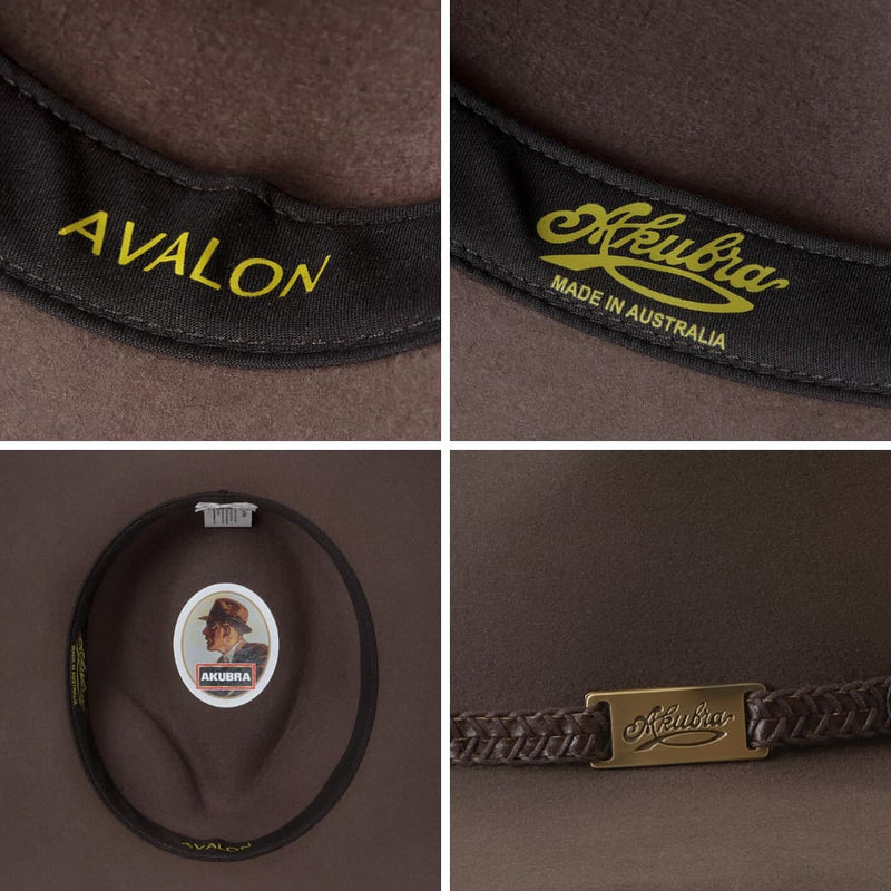 Compliation of images showing the interior and detailing of the Akubra Avalon hat in Hazelnut colour.