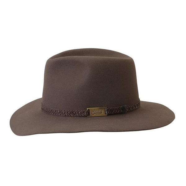 Akubra Avalon hat in Hazelnut shown side on, featuring brass Akubra badge on hatband..