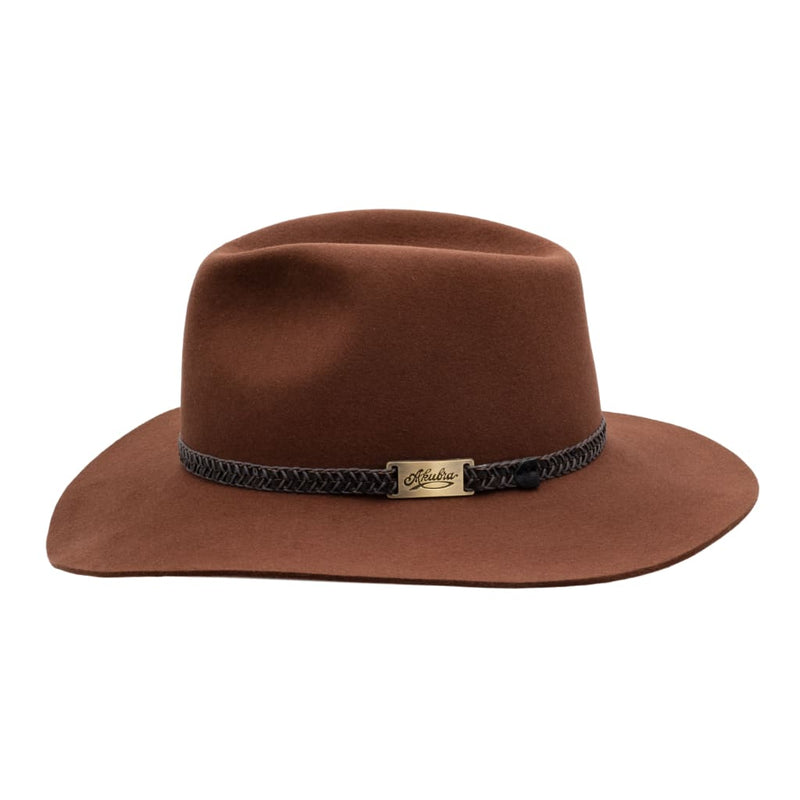 Side view of Akubra Avalon hat in Jarrah colour