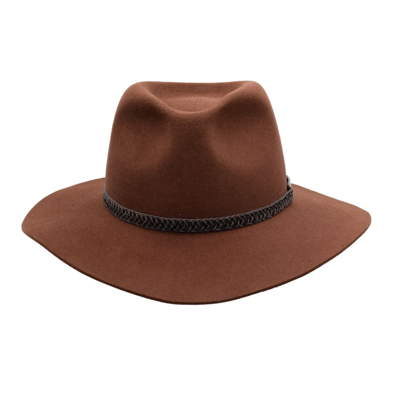 Front view of Akubra Avalon hat in Jarrah colour