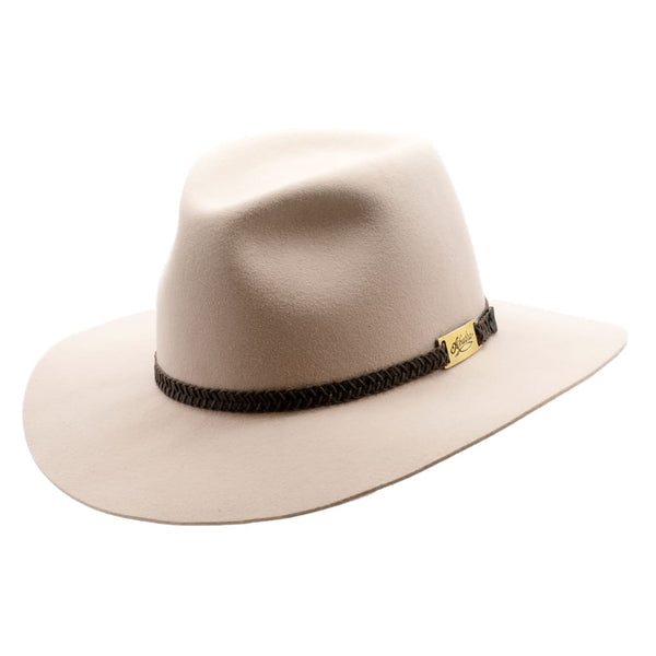 Akubra Avalon hat in Light Sand shown at an angle to show brim and crown shape and hat band detail.