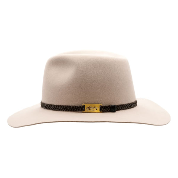 Side view of Akubra Avalon hat in Light Sand  to show brim and crown shape and hat band detail.
