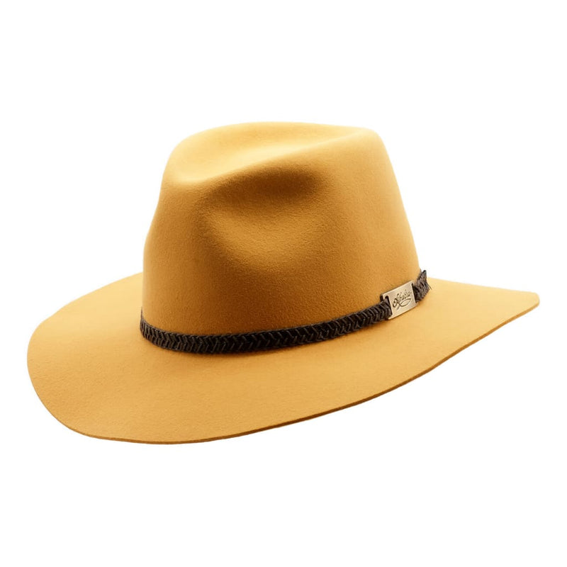 Akubra Avalon hat in Ochre shown at an angle to show brim and crown shape and hat band detail.