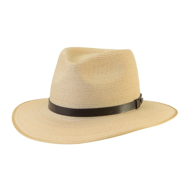 Angle view of the Akubra Balmoral hat in Natural.